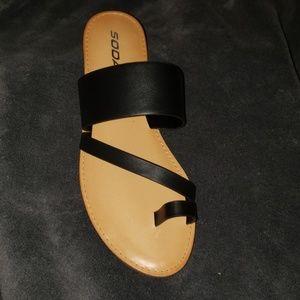Black strappy flat sandals